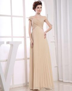 Mode Chiffong Silk Som Satin Veckad Off-axeln Golv Langd Aftonklänningar