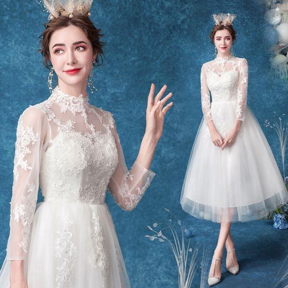 Affordable Ivory Wedding Dresses 2020 A-Line / Princess High Neck Pearl Lace Flower 3/4 Sleeve Tea-length