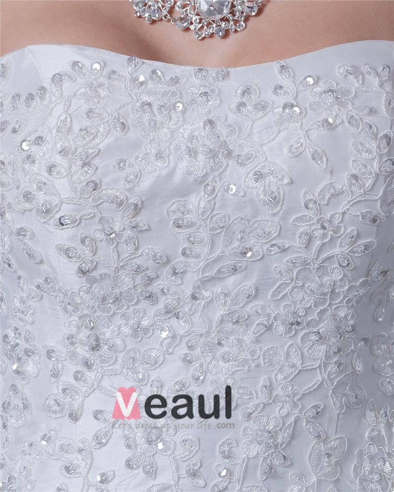Taffeta Sweep Floor Length Strapless A-Line Wedding Dress