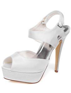 Elegant Bridal Shoes With Ankle Strap 5 Inch Stiletto Heels Wedding Sandals Slingbacks