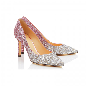 Glitzernden Farbverlauf Rosa Ball Pumps 2018 Pailletten Leder 8 cm Stilettos Pumps
