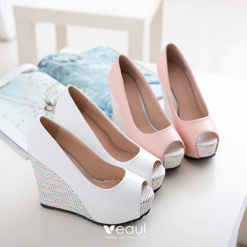 Chic / Beautiful 2017 8 cm / 3 inch Candy Pink White Casual PU Summer High Heels Thick Heels Sandals Womens Sandals