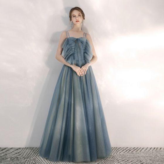Eleganckie Ciemnoniebieski Sukienki Wieczorowe 2020 Princessa Spaghetti Pasy Bez Rękawów Frezowanie Rhinestone Cekinami Tiulowe Długie Wzburzyć Bez Pleców Sukienki Wizytowe