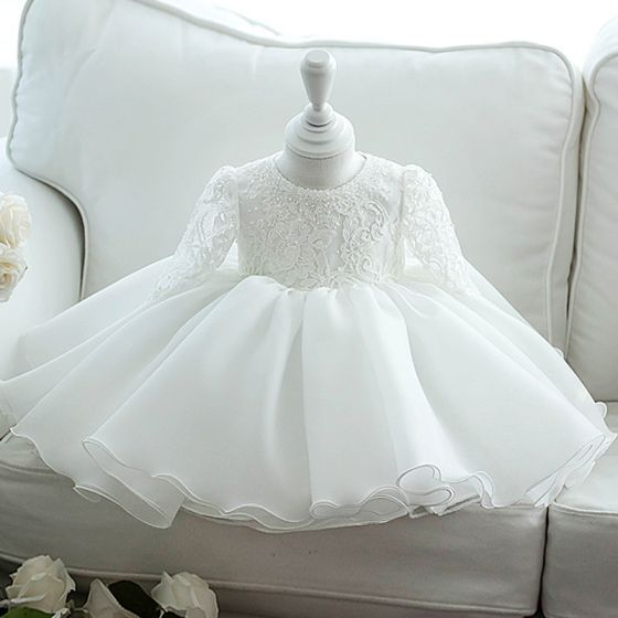 Chic / Beautiful White Organza Flower Girl Dresses 2020 Ball Gown Scoop Neck Long Sleeve Appliques Lace Beading Bow Short Ruffle Wedding Party Dresses