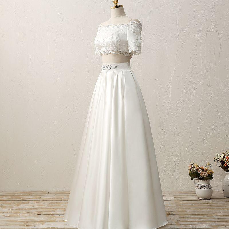 2 Piece Outdoor / Garden Wedding Dresses 2017 White A-Line / Princess Floor-Length / Long Square Neckline Short Sleeve Sequins Lace Appliques Rhinestone