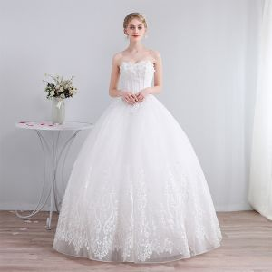 Best Ivory Corset Wedding Dresses 2019 A-Line / Princess Sweetheart Sleeveless Backless Appliques Lace Beading Glitter Tulle Floor-Length / Long Ruffle