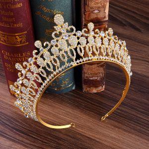 Classic Gold Tiara Bridal Hair Accessories 2020 Alloy Rhinestone Tiara Wedding Accessories
