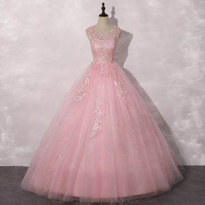 Roman Candy Pink Dancing Prom Dresses 2020 Ball Gown Scoop Neck Sleeveless Appliques Lace Sequins Floor-Length / Long Ruffle Backless Formal Dresses