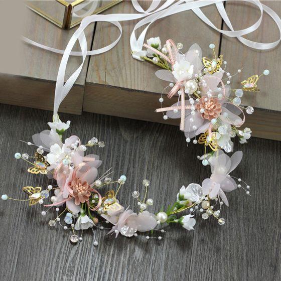 Blumenfee Rosa Stirnbänder Haarschmuck Braut  2020 Legierung Schnüren Blumen Perle Kopfschmuck Hochzeit Brautaccessoires