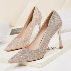 Charming Champagne Evening Party Pumps 2020 Rhinestone Sequins 9 cm Stiletto Heels Pointed Toe Pumps