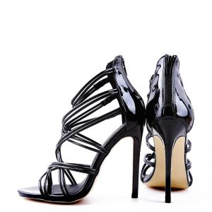 Sexy Black Rave Club Womens Sandals 2020 11 cm Stiletto Heels Open / Peep Toe Sandals