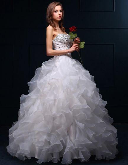 2015 Balklänning Älskling Beading Paljetter Organza Bröllopsklänningar