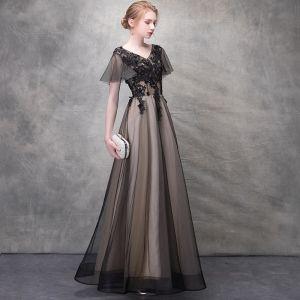 Piękne Czarne Sukienki Wieczorowe 2017 Princessa Kryształ Z Koronki Kwiat V-Szyja Bez Pleców Kótkie Rękawy Długość Kostki Sukienki Wizytowe