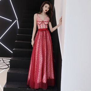 Modern / Fashion Red Prom Dresses 2019 A-Line / Princess Spaghetti Straps Sleeveless Spotted Tulle Bow Sash Floor-Length / Long Ruffle Backless Formal Dresses