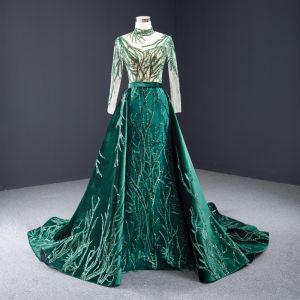 High-end Dark Green Suede Evening Dresses  2020 Trumpet / Mermaid High Neck Handmade  Beading Sequins Lace Long Sleeve Backless Watteau Train Formal Dresses