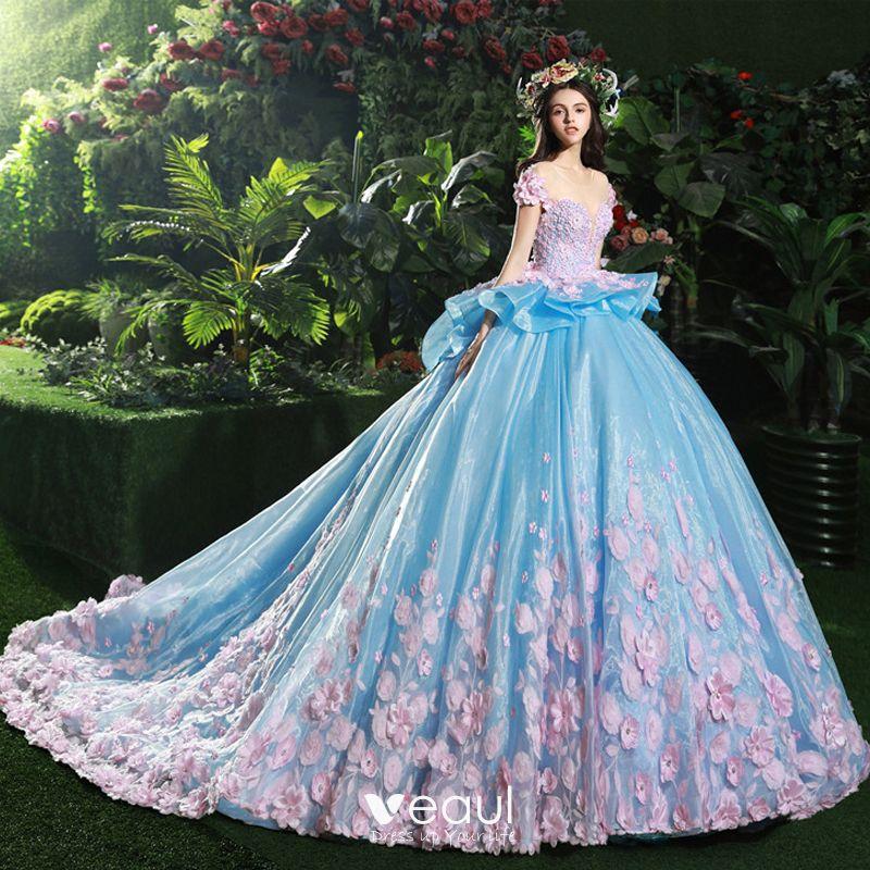 Atemberaubend Blau Brautkleider / Hochzeitskleider 2017