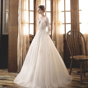 Illusion Champagne See-through Wedding Dresses 2019 A-Line / Princess Scoop Neck 3/4 Sleeve Backless Appliques Lace Pearl Floor-Length / Long Ruffle