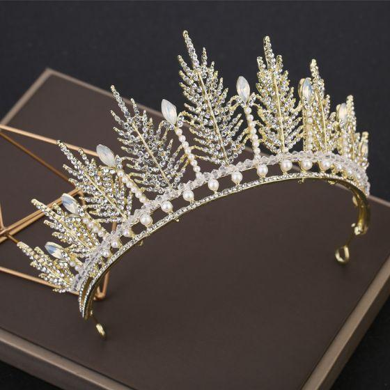 Abordable Doré Tiare Accessoire Cheveux Mariage 2019 Métal Perlage Cristal Perle Faux Diamant Mariage Accessorize