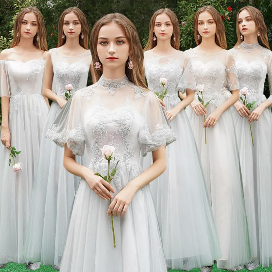 Chic / Beautiful Grey See-through Bridesmaid Dresses 2019 A-Line / Princess Appliques Lace Floor-Length / Long Ruffle Wedding Party Dresses