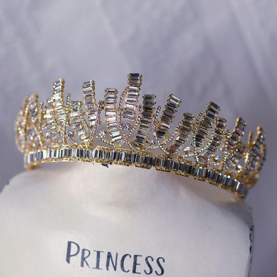 Amazing / Unique Gold Tiara Bridal Hair Accessories 2020 Alloy Rhinestone Wedding Accessories
