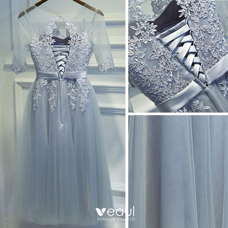 Modest / Simple Silver Bridesmaid Dresses 2017 A-Line / Princess Lace Scoop Neck Flower Bow Backless 1/2 Sleeves Short Wedding Party Dresses
