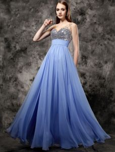 2016 Sparkly V-neck Sequins Beading Rhinestone Crystal Ruffle Blue Chiffon Prom Dress