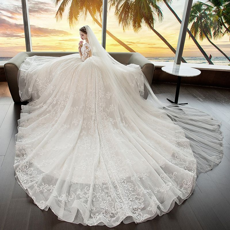 Luxury / Gorgeous Ivory See-through Wedding Dresses 2019 Ball Gown Square Neckline 3/4 Sleeve Backless Appliques Lace Glitter Tulle Cathedral Train Ruffle