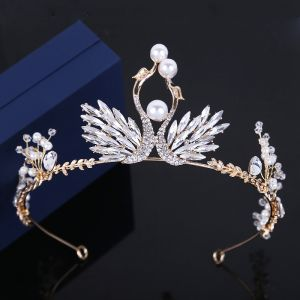 Amazing / Unique Silver Tiara Rhinestone Pearl Wedding Accessories 2019 Metal Bridal Hair Accessories