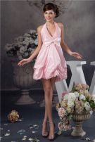 Cute Halter V Neck Ruffle Pink Graduation Dress With Bow
