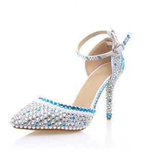 Sexy Argenté Soirée Faux Diamant Sandales Femme 2020 Bride Cheville 10 cm Talons Aiguilles À Bout Pointu Sandales