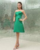 Strapless Neckline Thigh Length Pleated Satin Sleeveless Woman Bridesmaids Dresses