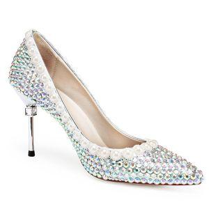 Charmant Multi-Couleurs Faux Diamant Chaussure De Mariée 2020 Cuir Perle 8 cm Talons Aiguilles À Bout Pointu Mariage Escarpins