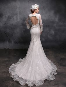 2015 Trumpet /Mermaid Sleeves Shawl Beading Pearl Lace Wedding Dress