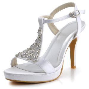 Handmade Custom Waterproof High-heeled White Satin Wedding Shoes Diamond