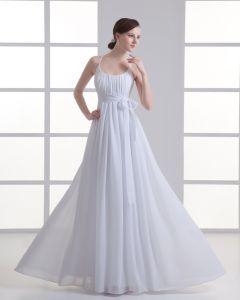 Chiffon Rüschen Schleife Scoop Bodenlange Falten Reich Hochzeitskleid