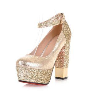762ba868 Czółenka Świecący Obcasy Złota Kobiet Szpilki Buty Platformy Pompy