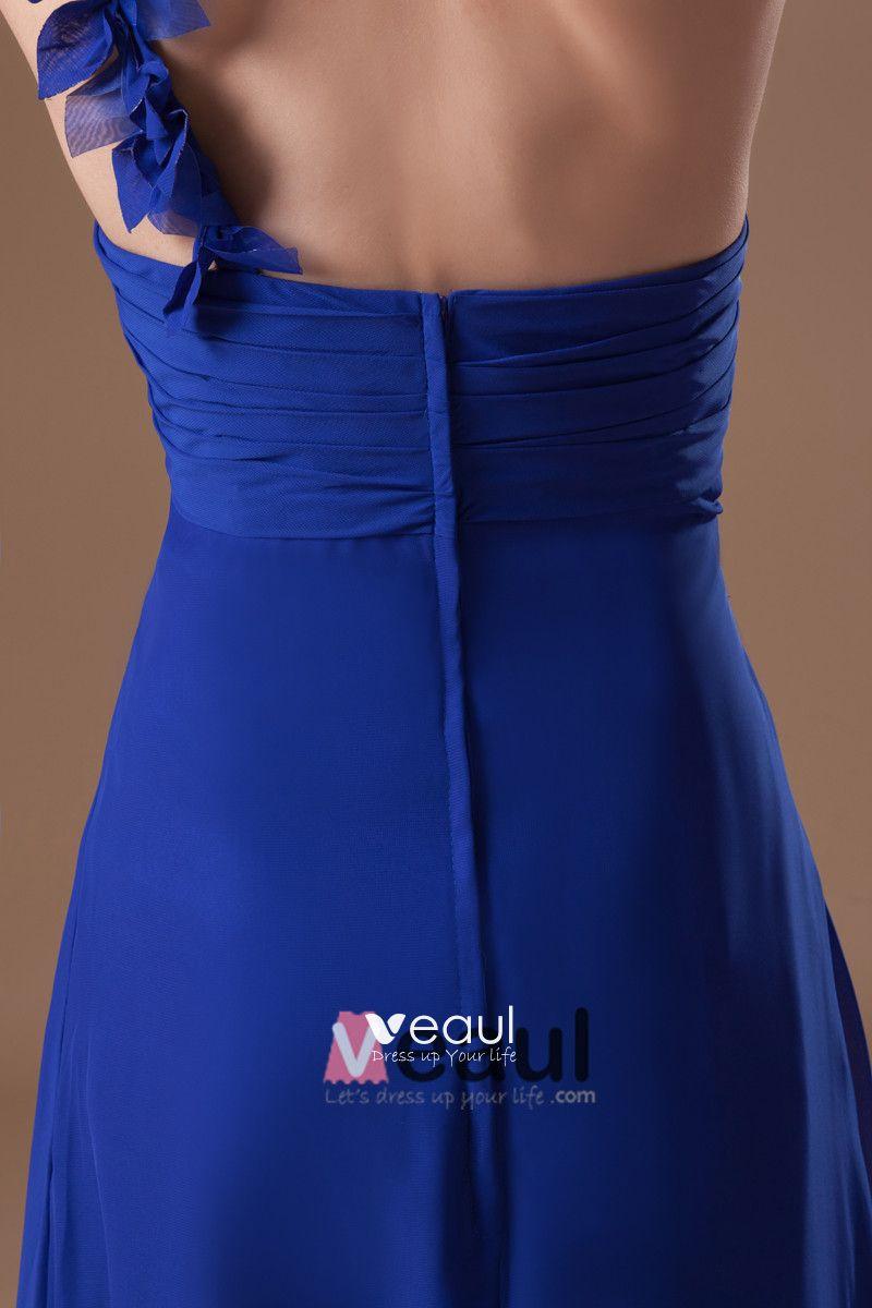 Chiffon Ruffle One Shoulder Floor Length Pleated Bridesmaid Dress