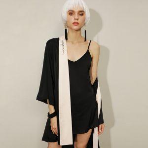 Moda Negro V-Cuello 3/4 Ærmer Boda Boda La Dama De Honor Seda Bata 2020 Bordado Cinturón