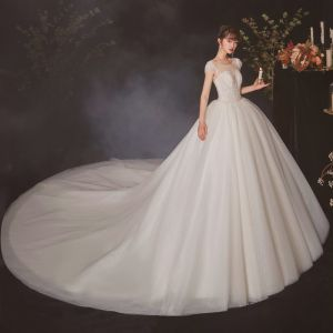 High-end Champagne Bridal Wedding Dresses 2020 Ball Gown See-through Scoop Neck Sleeveless Backless Beading Sequins Glitter Tulle Cathedral Train Ruffle