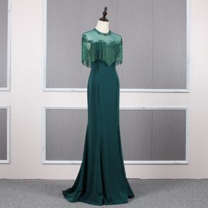 Elegant Dark Green See-through Evening Dresses  2020 A-Line / Princess Scoop Neck Cap Sleeves Beading Tassel Sweep Train Ruffle Backless Formal Dresses