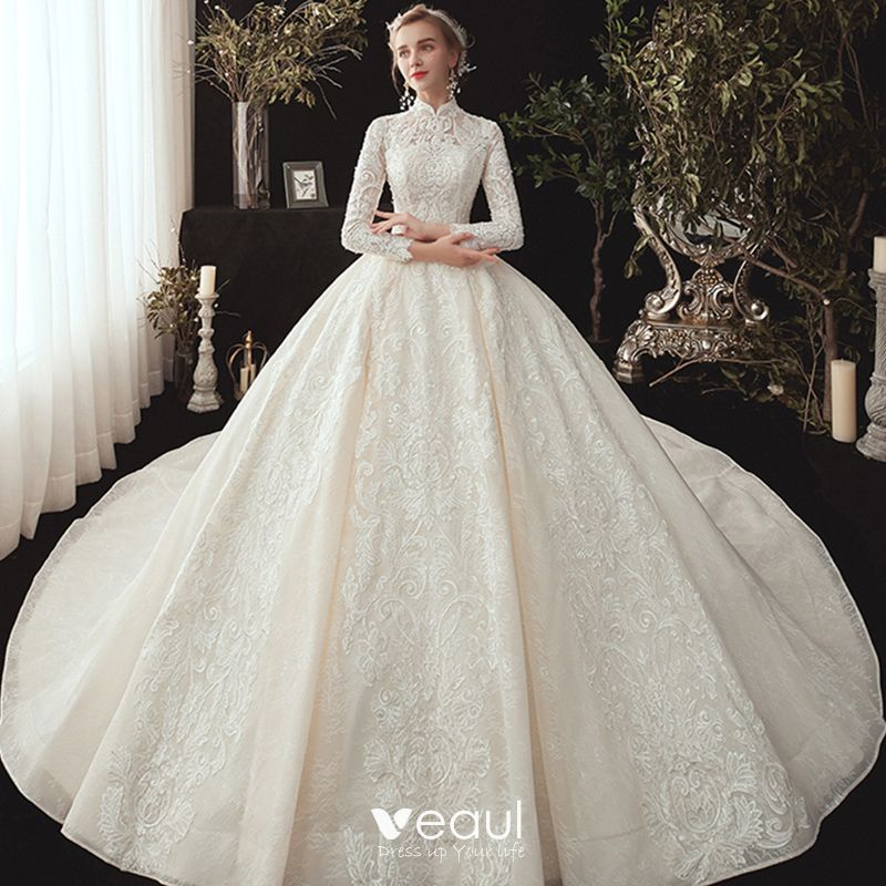 Chinese Style Muslim Champagne Lace Wedding Dresses 2020 Ball Gown High Neck Long Sleeve Appliques Lace Beading Pearl Chapel Train Ruffle