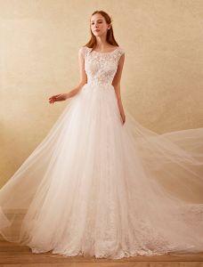 Schöne A-line Brautkleider 2017 Scoop Ausschnitt Bördeln Und Applique Spitzen Blumen Brautkleider