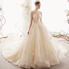 Luxury / Gorgeous Champagne Wedding Dresses 2019 Ball Gown High Neck Tassel Beading Crystal Lace Flower Sequins Short Sleeve Backless Cathedral Train