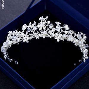 Modest / Simple Silver Tiara 2018 Metal Rhinestone Pearl Crystal Wedding Accessories