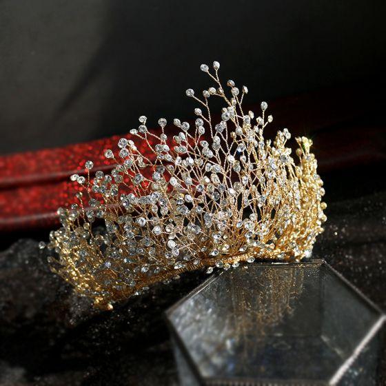 Fabulous Gold Bridal Hair Accessories 2019 Alloy Rhinestone Tiara Wedding Accessories