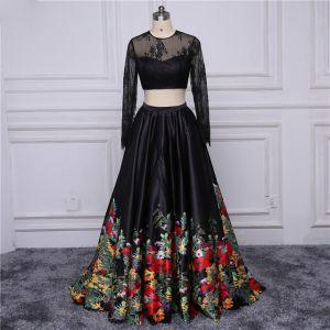 Chic / Belle Noire Robe De Bal 2017 Princesse U-Cou Brodé Fleur Percé Impression Robe De Soirée Soirée