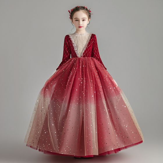 Chic / Beautiful Burgundy Suede Winter Flower Girl Dresses 2020 Ball Gown See-through High Neck 3/4 Sleeve Beading Sequins Tulle Floor-Length / Long Ruffle
