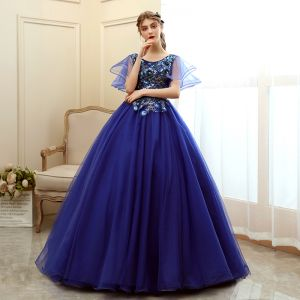 Affordable Royal Blue Prom Dresses 2020 Ball Gown Scoop Neck Short Sleeve Appliques Sequins Flower Floor-Length / Long Ruffle Backless Formal Dresses