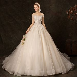 Affordable Champagne Wedding Dresses 2019 Ball Gown Off-The-Shoulder Short Sleeve Backless Appliques Lace Sequins Pearl Beading Chapel Train Ruffle