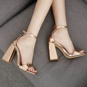 Chic / Beautiful Champagne Casual Womens Sandals 2020 Ankle Strap 11 cm Thick Heels Open / Peep Toe Sandals